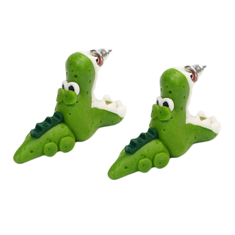 Image of 1/Pair Handmade Polymer Clay Crocodile Dinosaur - K