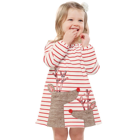 Image of Striped Deer Christmas Dress Baby - T