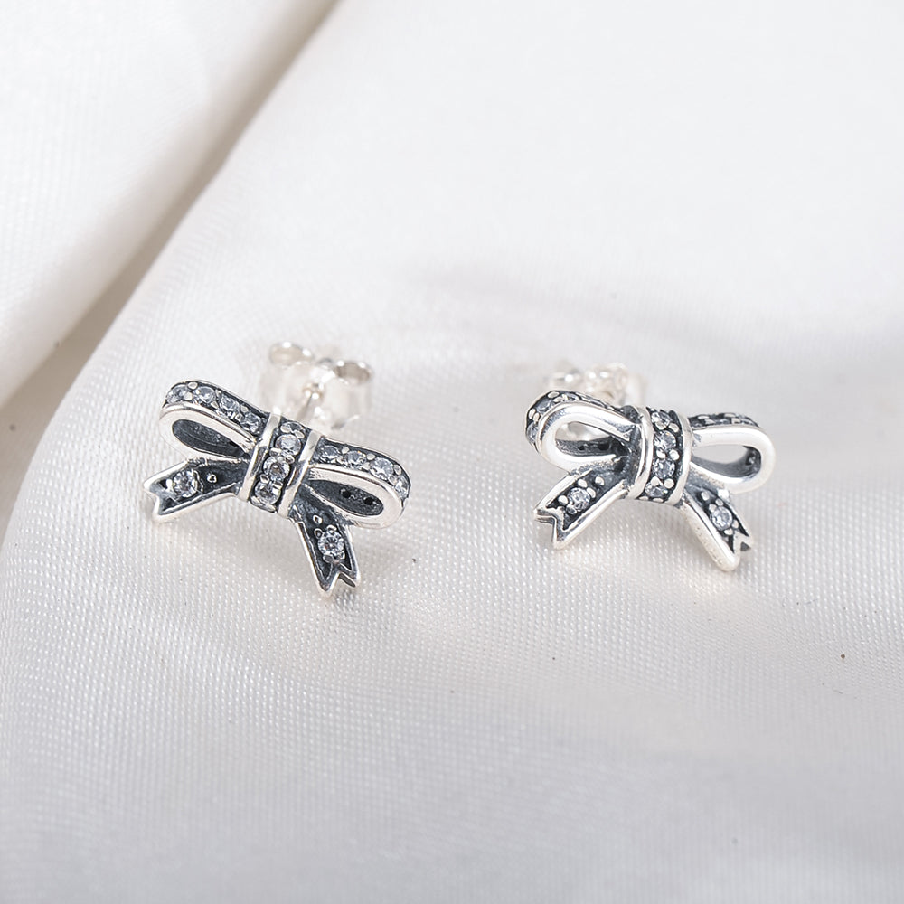 925 Sterling Silver/Gold Sparkling Bow Stud Earrings - K