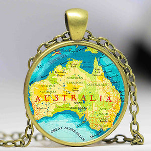 Australia Physical Map Necklaces - M1
