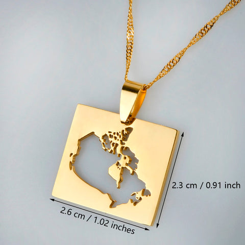 Image of Canada Map Square Gold Plated Necklace
