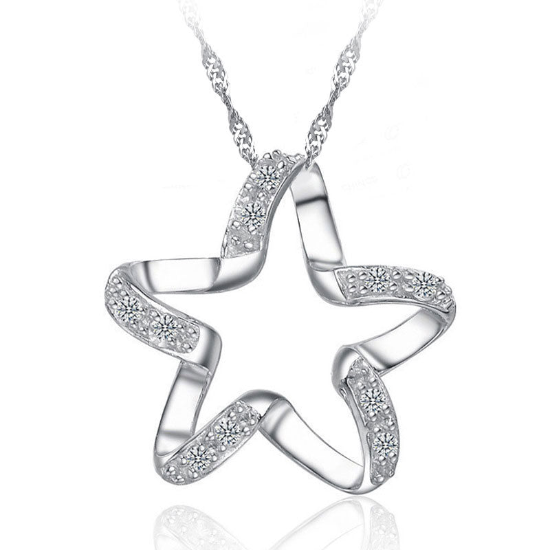 925  Silver Lucky Star Shape Necklace For Girls -BN
