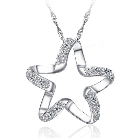 Image of 925  Silver Lucky Star Shape Necklace For Girls -BN
