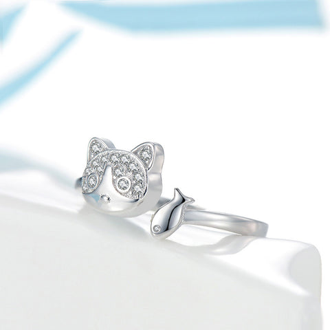 Image of 925 Sterling Silver Cat And Fish Ring - M2