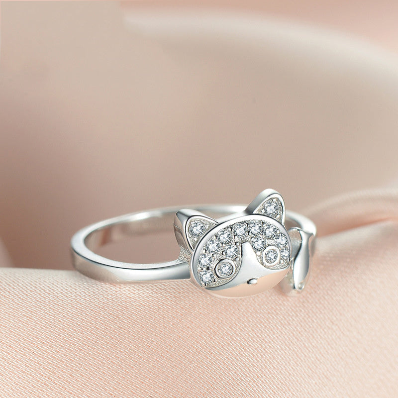925 Sterling Silver Cat And Fish Ring - M2
