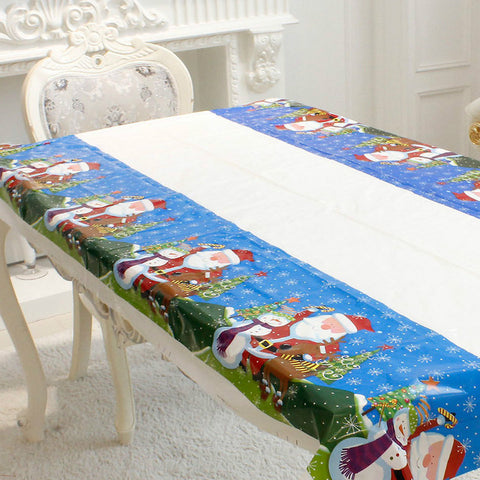 Image of Santa Claus Snowman Christmas TableCloth Cover - K