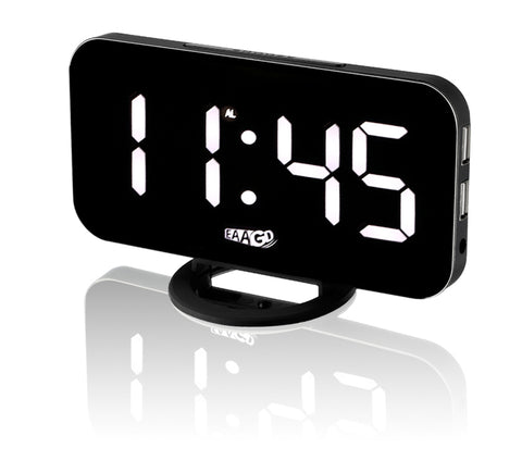 LED Digital Clock with Dual USB Port for Phone - K