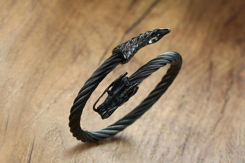 Image of Chains Black Dragon Head Cuff Bracelet - TR