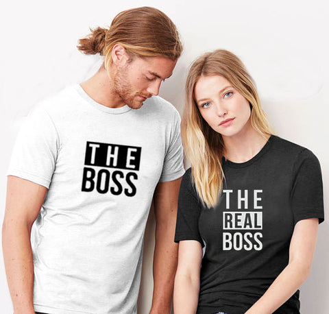 The Boss The Real Boss Funny Couple T-shirts - M8