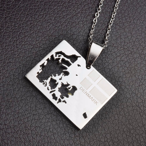 Denmark Map & Flag Square Necklaces -
