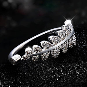 Silver Leaf Ring For Women - M