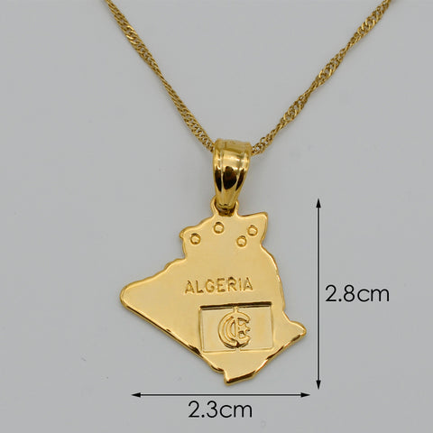 Image of Algeria Map Gold Plated Necklace