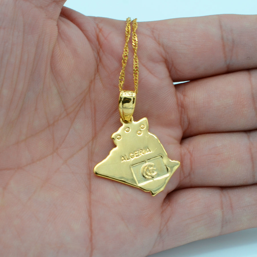 Algeria Map Gold Plated Necklace