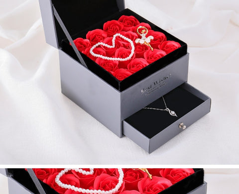 Luxury Gift Box With Rose And Silver Necklace - Valentine Special Collection