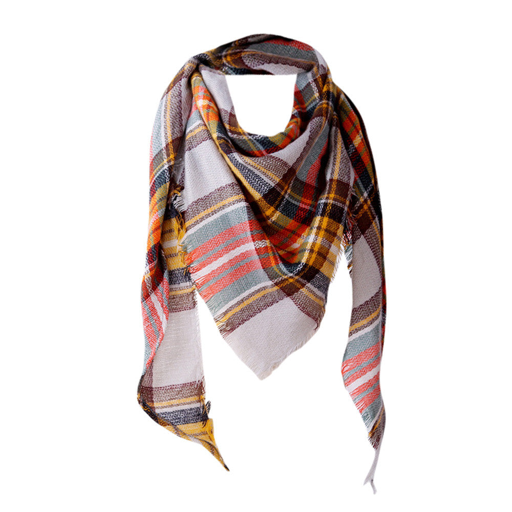 Autumn Plaid Wool Scarves - M1