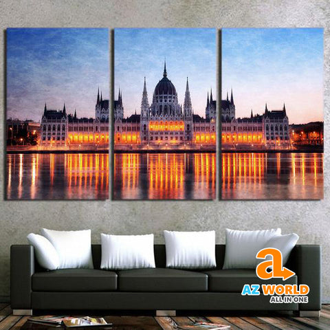The Hungarian Parliament Building Canvas Wall Art - M