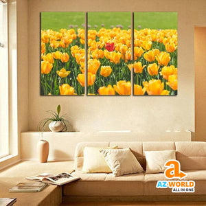 Yellow Tulip Field Canvas Wall Art - M
