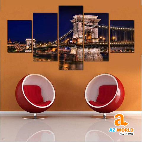 Budapest Bridge Canvas Wall Art - M