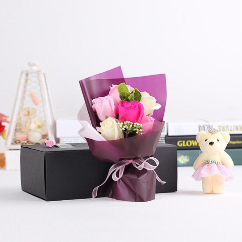 Bouquet Rose Soap Bear Doll Gift Box -Valentine Special Collection