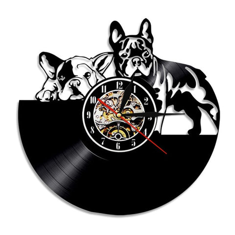 1Piece Sad Dogs Silhouette Vinyl Record Wall Clock French Bulldog T4