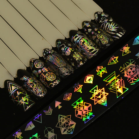 8pcs, Holographic Nail Art Transfer Stickers Decals Christmas/Dreamcatcher/Triangle/Rose Flower Nail Foils