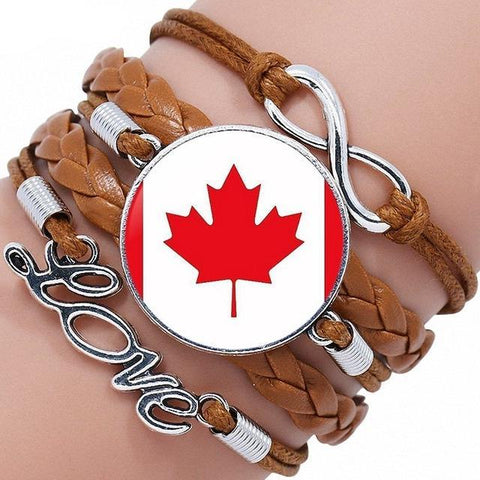 Canada Flag Black/Bronze Leather Bracelet Bangle - M2