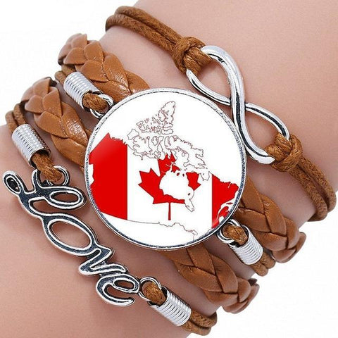 Image of Canada Flag Black/Bronze Leather Bracelet Bangle - M2