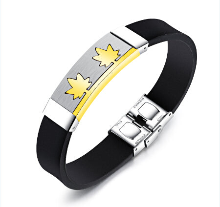 Image of Canada Maple Leaf Bracelet  Silicone Stainless Steel - N