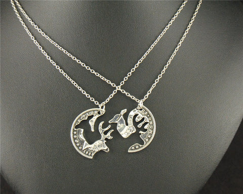 Image of Buck and Doe Canadian Quarter Puzzle Charm Pendant Necklace - N