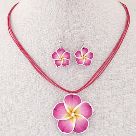 Hawaii Sets Plumeria Flowers Jewelry  Earrings and Necklace - Y7