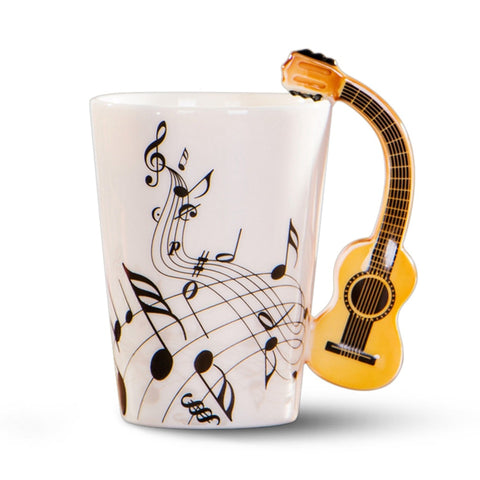 Image of Creative novelty guitar handle ceramic cup free spectrum coffee milk tea cup personality mug unique musical instrument gift