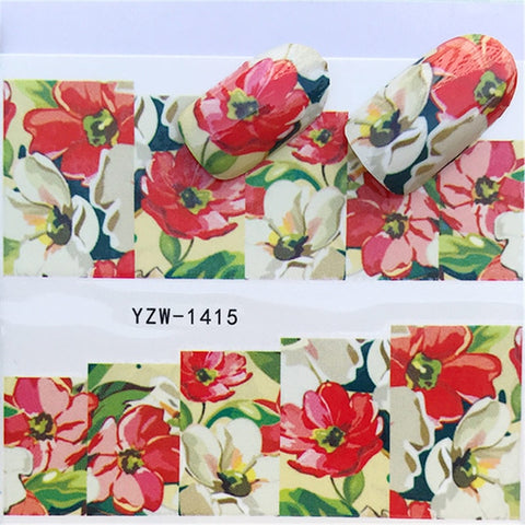 1 PC Flower Styles Nail Decals Colorful Full | Designed Fingernail Flower Tips Decoration