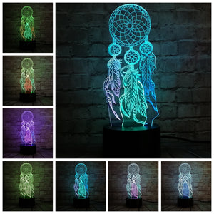 Hot Valentine Wind Chimes Table Lamp Switch Dream Catcher 3D Touch Night Light Bedroom Party Desk Decor Lamp Girls xmas Gift