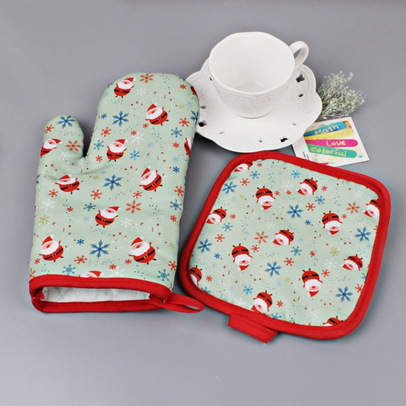 Set Christmas Baking Anti-Hot Gloves Oven And Microwave - Y7