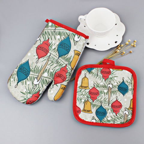 Image of Set Christmas Baking Anti-Hot Gloves Oven And Microwave - Y7