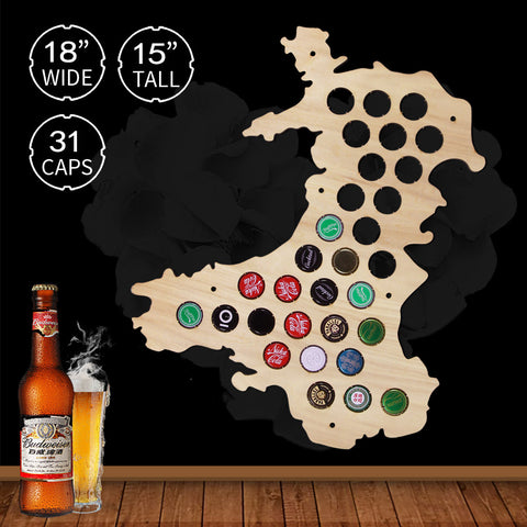Beer Cap Wales Map Bottle - N