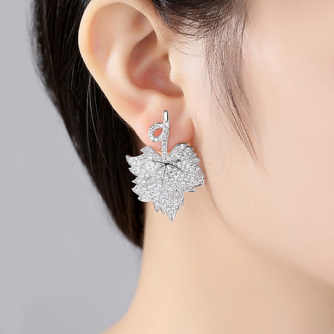 Canadian Maple Leaf Charm Stud Earrings - N