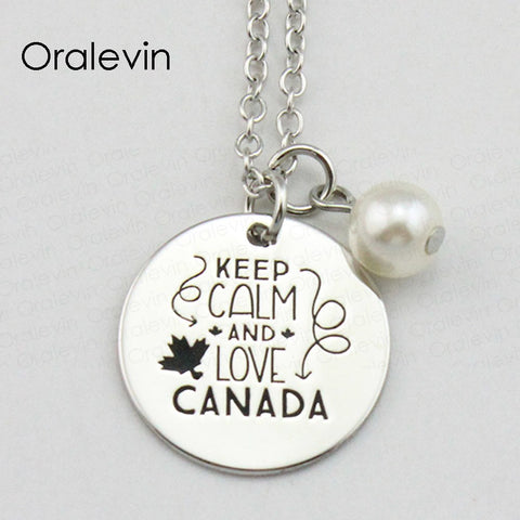 Image of Keep Calm and Love Canada Engraved Pendant Necklace - N