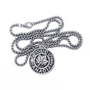 Proudly Canadian Maple Leaf  Round Metal Pendant Necklace - N