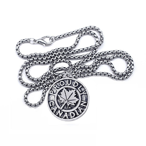 Image of Proudly Canadian Maple Leaf  Round Metal Pendant Necklace - N