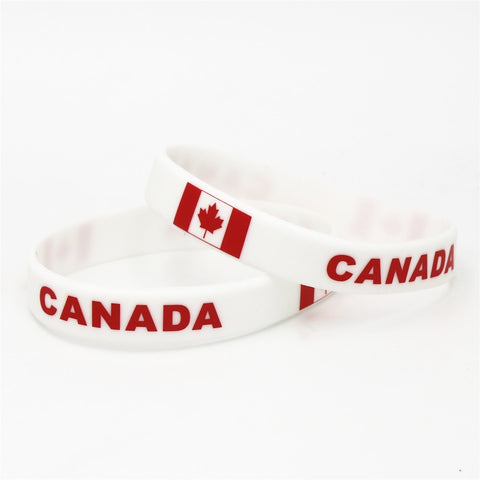 Image of Canada Country Flag Silicone Wristband Rubber Bracelet - N