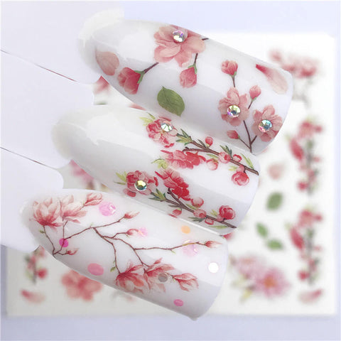 1 PC Pink Petals / Flowers / Green Leaves Water Transfer Sticker Nail Art Decals