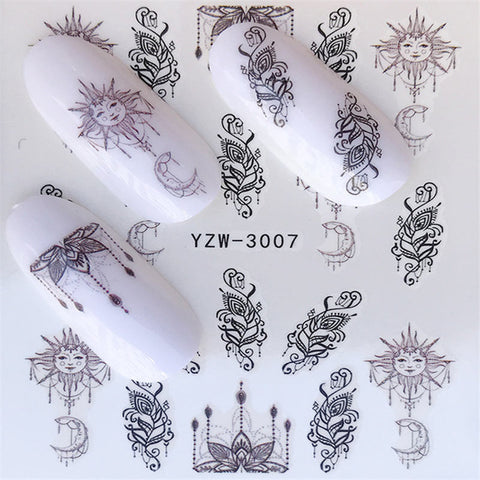 1 PC Flowers /Easter / Butterfly / Necklace  For Nail Art Watermark Tattoo Nail Sticker Water Transfer
