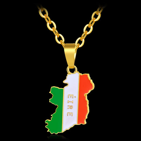 Image of IRELAND Map Flag Gold Color Pendant Necklaces - Y7