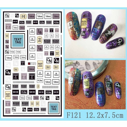 1 PC Nail Sticker Black Butterfly 1 Sheet Heart Shape Letter Design 3D Decal Nail