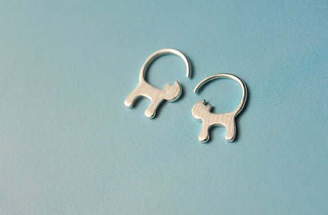 Silver Cute Cat Earrings - TU