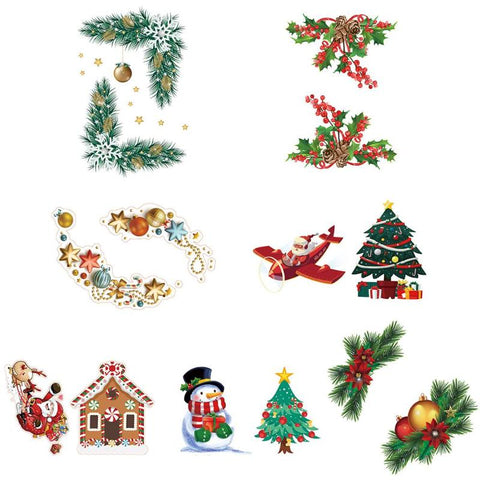 Wall Decals DIY Christmas Mural Art Refrigerator Decoration