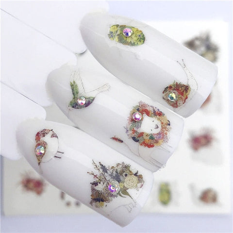 1 PC Nail Sticker Deer Flower Water Transfer Decal Sliders