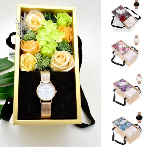 Watch and Flower Soap Gift Set - Valentine Special Collection
