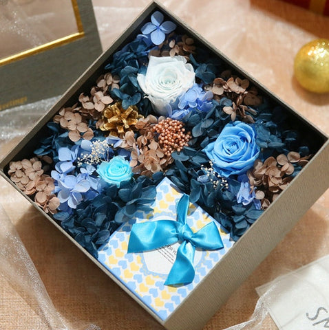 Everlasting Flower Rose Hydrangea Gift Box - Valentine Special Collection